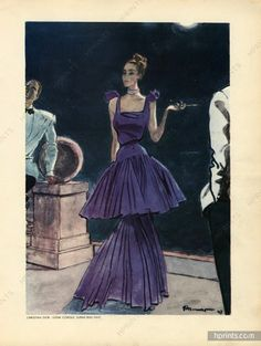 Christian Dior 1947, ligne Corolle evening gown, illustrated by Pierre Mourgue