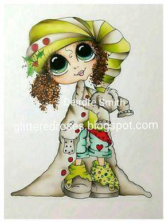INSTANT DOWNLOAD Digital Digi Stamps Big Eye Big Head Dolls Digi  Img906 Christmas By Sherri Baldy