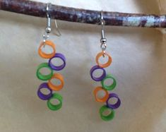 Paper Quilling Earrings, Paper Quilling Cards, Paper Quilling Designs, Handmade Jewelry, Unique Jewelry, Handmade Gifts, Paper Jewelry, Washer Necklace, Jewlery