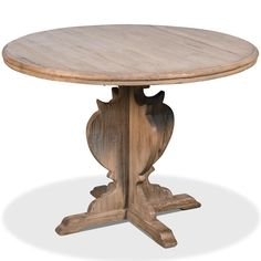 Reclaimed pine wood bistro table with carved base and brown finish. #frenchcountry, #diningtables Antique Dining Tables, Solid Wood Dining Table, Round Dining Table, French Country Dining Table, French Country Furniture, Planter Table, Wood Rounds, Kitchen Fixtures, Table And Chairs