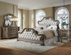 The Wilshire 4-piece queen bedroom set is an updated spin on a ...
