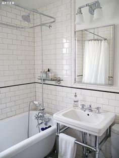Small bathroom remodel to classic bathroom design. Tiny Bathrooms, Upstairs Bathrooms, Vintage Bathrooms, 1920s Bathroom, Craftsman Style Bathrooms, Vintage Bathroom Lighting, Bungalow Bathroom, Condo Bathroom, Bathroom Furniture