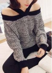 Charming Long Sleeve off the Shoulder Knitting Wool Sweaters