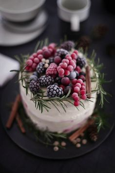 "Today is December 21st, the Winter Solstice, so happy winter everyone!  Every December we search for cakes that are perfect for winter weddings.  We've rounded up the most gorgeous and unique cakes we could find from gold dusted berry topped cakes to blue and white cakes with ""snow.""  Scroll down to be inspired by this winter …"