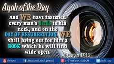 Ayah of the Day Al-#Quran 17:13 Don't forget about the DAY OF RESURRECTION