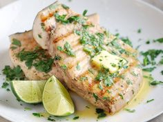"""Grilled swordfish steak, one of the most delicious, popular grilled fish recipes. Cook swordfish steak with ginger, lime, you""""ll never forget this unique flavor. Fish Dishes, Seafood Dishes, Seafood Recipes, Main Dishes, Dinner Recipes, Cooking Recipes, Healthy Recipes, Tilapia Recipes, Dinner Menu"""