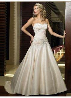 A-line Strapless Beading Sleeveless Cathedral Train Satin Wedding Dress $189.99 #MyeSoul