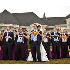 Superhero Wedding Party - hubby would have TOTALLY done this at our wedding! Except he would be Batman. Wedding Humor, Wedding Pics, Wedding Bells, Our Wedding, Dream Wedding, Geek Wedding, Quirky Wedding, Wedding Things, Perfect Wedding