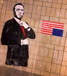 #graffitti #streetart Hommage to House of cards' Frank Underwood in Amsterdam. (Tunnel Wibautstraat) // Hommage aan Frank Underwood uit House of Cards in de Wibautstraat - MEDIA - PAROOL