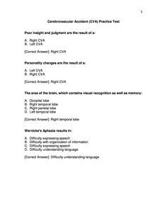 CVA Practice Test page 5 Occupational Therapy Assessment, Occupational Therapist, Study Board, Board Exam, Nbcot Exam Prep, Pa Life, Pta School, Acute Care, Student Guide