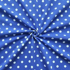 Baumwoll Stretch Jersey  Punkte Mittel  Farbe Royal-Blau-Weiss