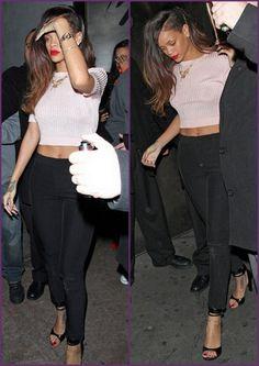 fcbfe82dbb5ac7 Rihanna - Pink Knit Crop Top   Black High-Waisted Pants