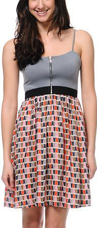 #Zumiez                   #love                     #Love, #Fire #Grey #Print #Zipper #Dress            Love, Fire Grey Geo Print Zipper Dress                                        http://www.seapai.com/product.aspx?PID=1037951