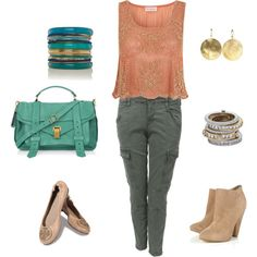 An outfit I would love to have for weekend lunch, going to dinner with girlfriends, etc.  I love the embellished tank with the more casual cargo, and the shoes can be switched up depending on how dressy you want to go.