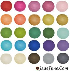 Jadetime.com paper laterns, parasols, and more...over 30 colors and great prices!
