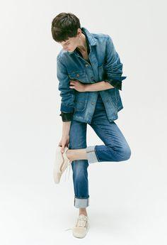 madewell high-rise slim boyjean worn with the denim chore coat + wrap-front shirt.