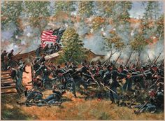 ON SEPTEMBER 17, 1862 COL. JOHN F. HARTRANFT'S 51ST PENNSYLVANIA REGIMENT TOOK THE BRIDGE KNOWN AS RORBACH'S BRIDGE AT ANTIETAM. TWO FLAGS ARE FLOWN IN THE BATTLE, THE NATIONAL FLAG OF THE 51ST PENNSYLVANIA WITH STARS AND STRIPES AND A BLUE REGIMENTAL FLAG.