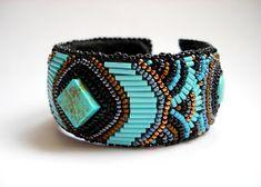 Precious Heartbeads - IgazGyöngyök: Mayan Kaleidoscope - Golden Turquoise Bead Embroidered Bracelet Cuff