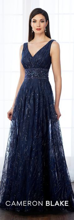 Formal Evening Gowns by Mon Cheri - Fall 2017 - Style No 217645 - navy blue sleeveless sequin and tulle V-neckline evening dress