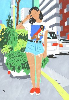 Step into illustrator Hisashi Okawa's dotty-eyed dreamworld