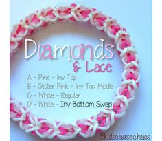 Diamonds and Lace Bracelet (Monster Loom) Crazy Loom Bracelets, Loom Band Bracelets, Rainbow Loom Bracelets, Lace Bracelet, Rainbow Loom Tutorials, Rainbow Loom Patterns, Rainbow Loom Creations, Loom Love, Fun Loom