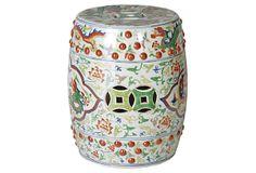 "Medallion Dragon Garden Stool, porcelain 13""Dx17""H 129 - 0rig. 300"