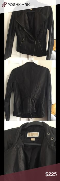 Real Black leather MK Moro jacket M Pristine black leather Michael Kors jacket  Size M $400 new Michael Kors Jackets & Coats