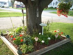 Idea for mailbox garden... or even just a garden around a tree.