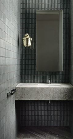 Concrete Bathroom Sinks That Make A Strong Statement Without Any Fuss Powder room, offset mirror placement, pendant off to side. Bad Inspiration, Bathroom Inspiration, Interior Inspiration, Bathroom Interior Design, Home Interior, Bathroom Designs, Bathroom Ideas, Interior Decorating, Decorating Ideas