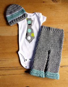 Newborn Boy Coming Home Outfit - Polka Dot Tie shirt w/ Matching Crochet Hat & Roll Cuff Pant in Gray, Blue, and White by AntiquatedModCrochet on Etsy https://www.etsy.com/listing/183608315/newborn-boy-coming-home-outfit-polka-dot