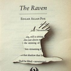Poe - The Raven brooch. Classic book brooches made with original pages..  //  houseofmany at etsy