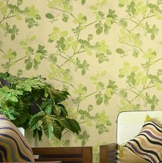 Vintage Flax Like Surface Green Leaves Watercolor Beige Background Wallpaper | eBay in yellow-green