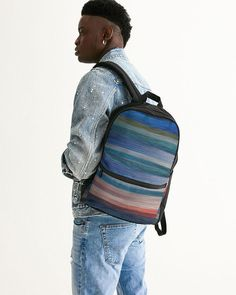 Small Canvas Backpack With abstract colorfull stripes Canvas Backpack, Sling Backpack, Fashion Backpack, Stripes, Backpacks, Abstract, Bags, Collection, Summary