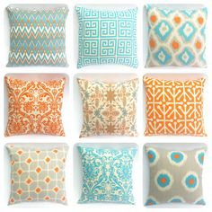 One Orange Aqua and Grey Blue Pillow Cover 11 Sizes by Pillomatic, $17.00