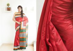Silk Sarees - Red coloured hand screen printed Raw silk saree with floral design PC 16644 - Main