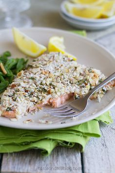 Almond Crusted Salmon is delicious and so easy to make! It has great textures and a zesty lemon flavor. You can get it baked in the 10 minutes before your guests arrive and serve it to them with maximum freshness. Easy Fish Recipes, Tilapia Recipes, Seafood Recipes, Cooking Recipes, Healthy Recipes, Meat Recipes, Healthy Eats, Almond Crusted Salmon Recipe, Savory Salmon Recipe