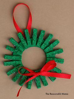 Mini Clothespin Christmas Wreath Ornament   AllFreeHolidayCrafts.com