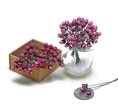 50 Pink Tiny Rose Mulberry Paper Flower Scrapbook Craft 5mm Card Wedding Dollhouse ** Read more  at the image link.