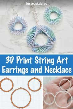 Create fun spirograph inspired string art earrings and pendant with a printed base designed with Tinkercad and printed with transparent filament. Spirograph Art, Design Crafts, Diy Crafts, String Art Tutorials, 3d Printing Diy, Life Hacking, Travel Products, Diy Earrings, 3d Printer