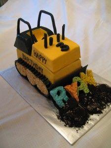bulldozer cake with rice Krispy letters