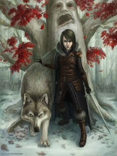 Arya Stark and Nymeria. I hope to see them reunited! She's definitely one of my favorite characters. Valar Morghulis.