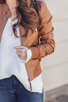 Brown leather jacket via Peaches In A Pod blog.
