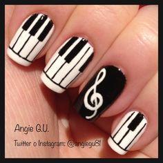 Music Nail Art, Music Nails, Piano Music, Nail Manicure, Lovers Art, Mary, Beauty, Finger Nails, Simple Acrylic Nails