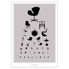 Funder & Lennheden - Icons plakat 50x70 cm - grå