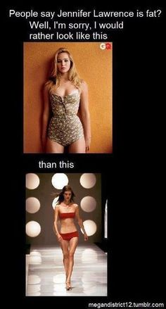 I don't see how anyone could POSSIBLY think that Jennifer Lawrence is fat. People are just mad that how REAL that she is as a celebrity. At least she has a figure and is not a skeleton. Jenifer Lawrance, Thats The Way, Anorexia, So True, True Stories, Role Models, In This World, Make Me Smile, Just In Case