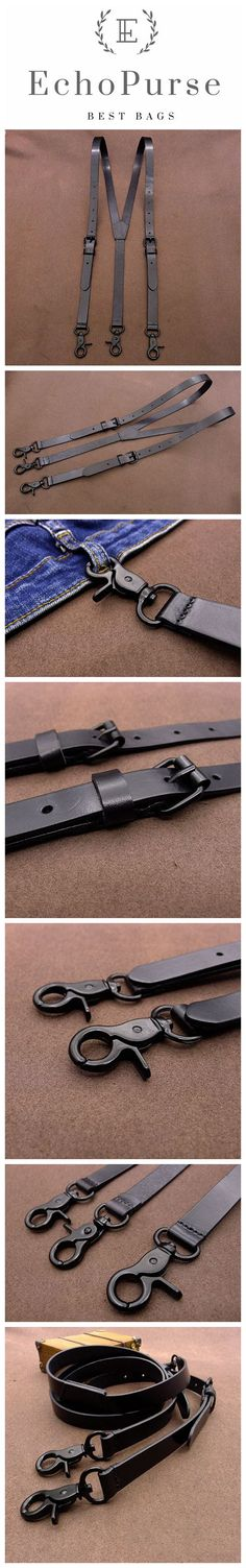 Black Wedding Suspenders, Full Grain leather Groomsman shoulder straps CZ11