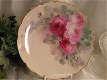 PINK BURGUNDY TEA ROSES Antique Limoges French Masterpiece Hand Painted Plate Vintage Victorian China Painting World Famous Early American Porcelain Artist: IDA FERRIS Haviland France circa 1893