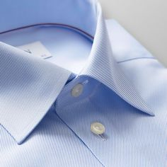 This fabric is woven with increased yarn counts, which enhances the twill weave's characteristic diagonal structure and provides the outfit with elegant texture. Blue Shirt Outfit Men, Gents Shirts, Shirt Collar Styles, Formal Men Outfit, Urban Fashion Photography, Mens Shoes Online, Light Blue Shirts, Twill Shirt, Plus Size T Shirts