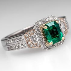 Eco Friendly Emerald Engagement Ring w/ Diamond Accents 18K White Gold