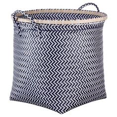 Large Round Woven Bin Navy with Wood Room Essentials™